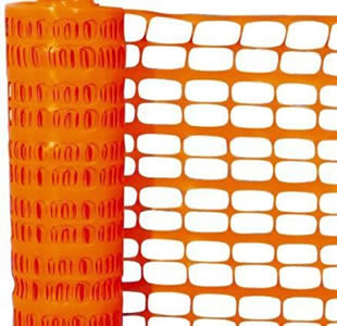 A roll of orange plastic snow fence